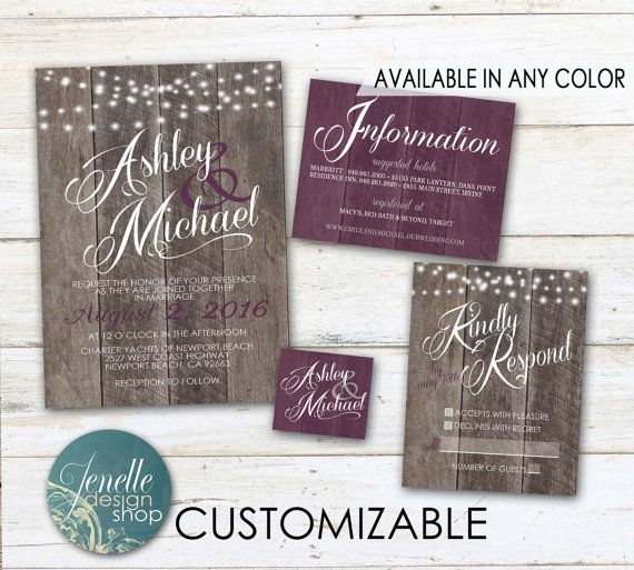 Purple Rustic Wedding Invitations  Plum by JENELLEdesignSHOP