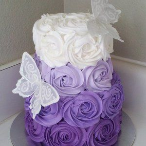 Purple Ombre Rosette Cake would be cute for a baby shower cake