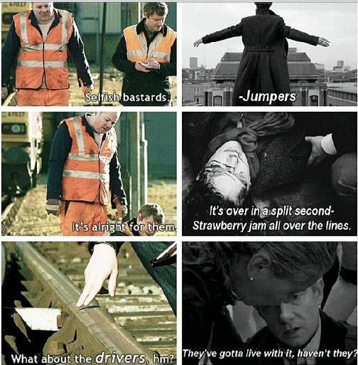 Oddly enough, I never realized this parallel between The Great Game and The Reichenbach Fall...I could've done without it. :/ #sherlock