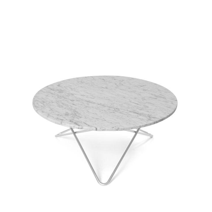 O Table soffbord - O Table soffbord - vit marmor, rostfritt stativ