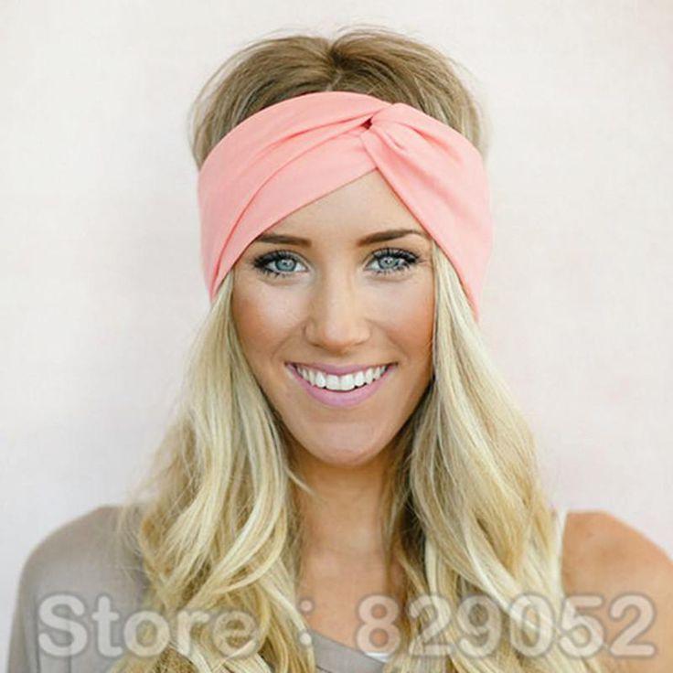 Twist Elasticity Turban Headbands for Women Sport Head band Yoga Headband Headwear Hairbands Bows Girls Hair Accessories A0406
