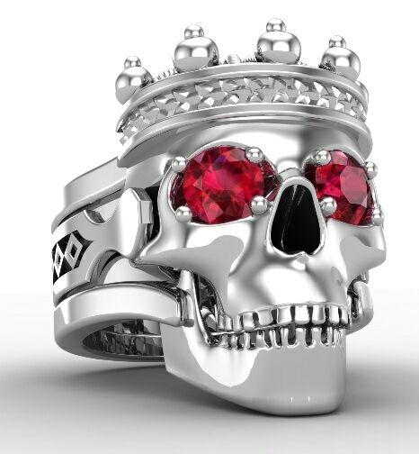 Skull King Engagement Ring Solid 14 KT Gold Ruby Eyes