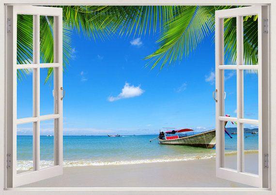 Bunte 3D-Fenster Wandaufkleber - tropischen Strand mit Boot (Thailand)-Fenster-Ansicht Sie können diese Ansicht ohne die Fensterrahmen auch bestellen, So erhalten Sie nur die Ansicht als eine riesige Wand-Aufkleber. === Die riesige Vielfalt an bunten 3D Windows === 250 +