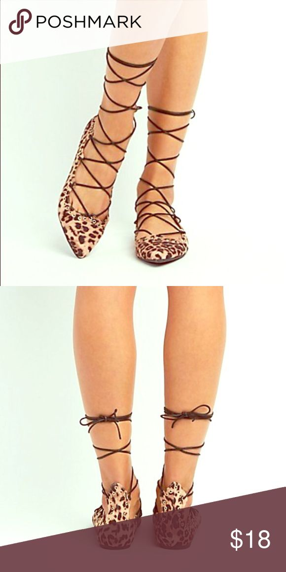 Leopard Flats Size 8 🆕 Leopard lace up pointed flats Shoes Flats & Loafers