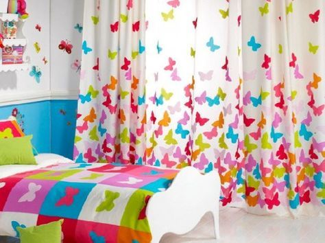 Tende cameretta per bambini - Tende con farfalle colorate