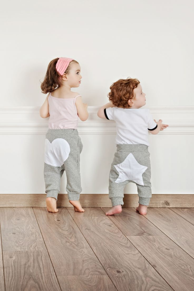 Cute and comfortable sweat pants with heart-shape patch for little girls and star-shape patch for little boys  #Minisize #SS14 #Spring #Summer http://www.minisize-sissychristidou.gr/el/babies.html