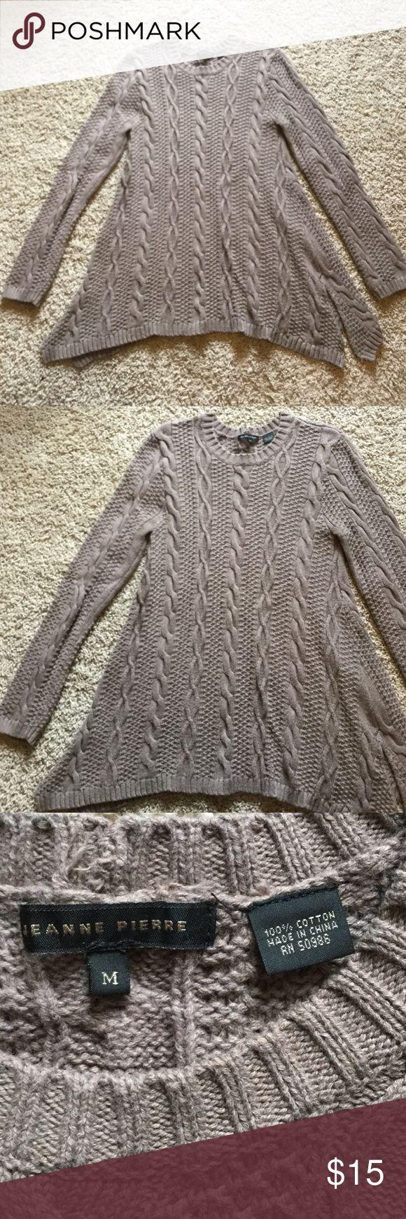 Jeanne Pierre cable knit sweater M Jeanne Pierre cable knit sweater. Size medium. 100% cotton. Good condition Jeanne Pierre Sweaters