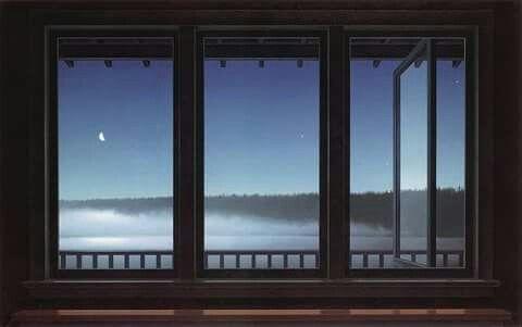 Christopher Pratt ( Canada) -Spicchio di luna e stelle luminose: la mia camera da letto nel mese di settembre