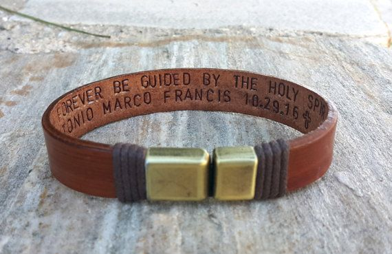 EXPRESS SHIPPING - Personalized Hidden Message Leather Bracelet Custom Quote Jewelry Valentines Day Gift for Him Husband Gift Boyfriend Gift