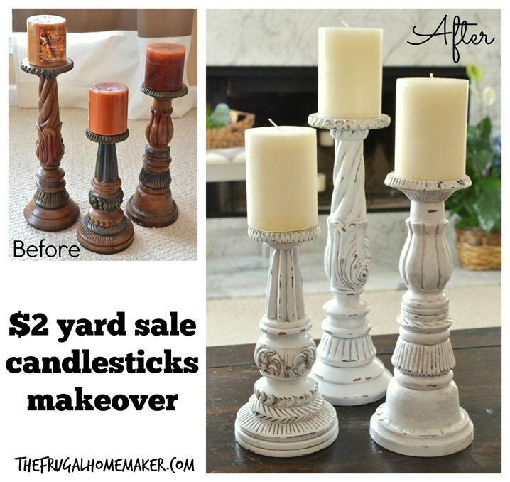 $2 yard sale candlestick makeover