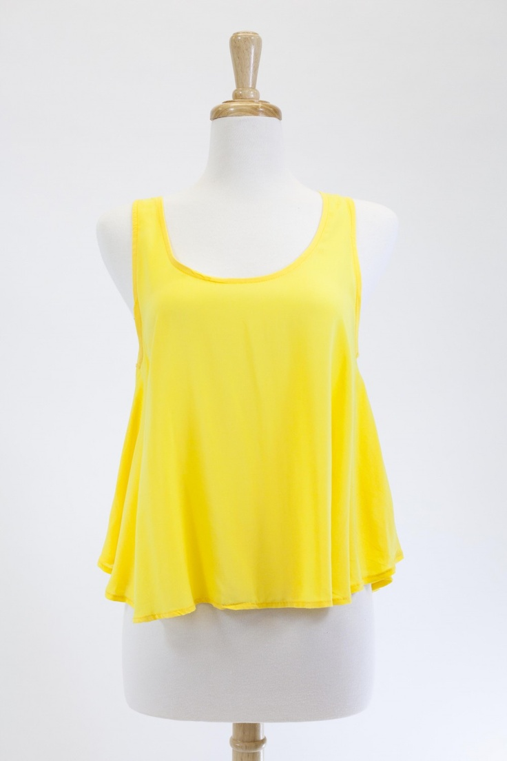 """Dressing Your Truth - Type 4 Tulip Top  ..""""Bold yellow color and clean design, this lightweight top is polished with a feminine and flirty cut.""""  -100% rayon"""