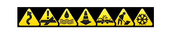 Trapster 3.1.0 for Android Road Hazard Icons. Dangerous Curve, Dangerous Intersection, Flooded Road, Road Hazard, Accident, Construction Zone, Ice on Road