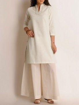 Cream Embroidered Khadi Kurta over cotton palazzo pants