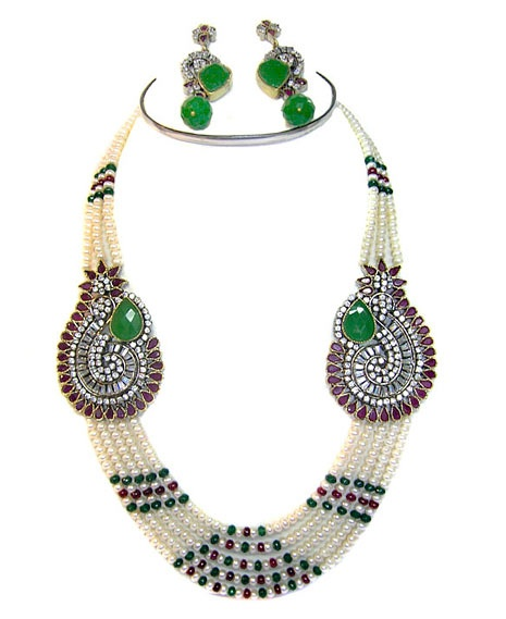 Off White, Green and Deep Magenta Stone Studded Necklace Set    Itemcode: JJR4051    Price: US$ 173.46    Click here to shop: http://www.utsavfashion.com/store/item.aspx?icode=jjr4051