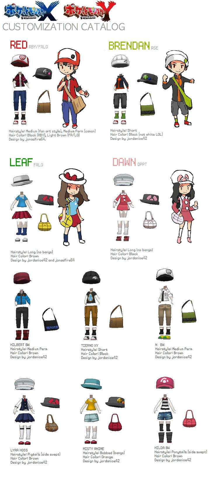 Pokemon XY Character Customization Catalog! by jordanice42.deviantart.com on @DeviantArt
