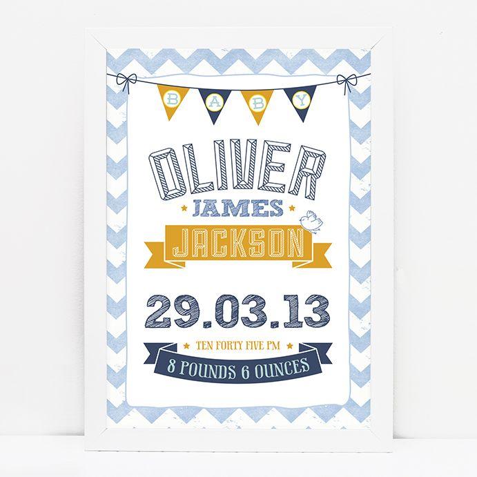 Personalised new baby chevron print // BLUE/ORANGE © Paper Chain Creative Studio  www.facebook.com/paperchain