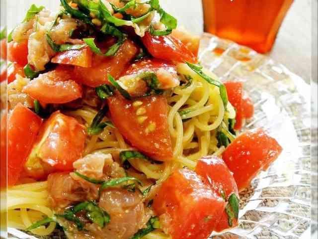 簡単♡トマトと生ハムの冷製パスタの画像