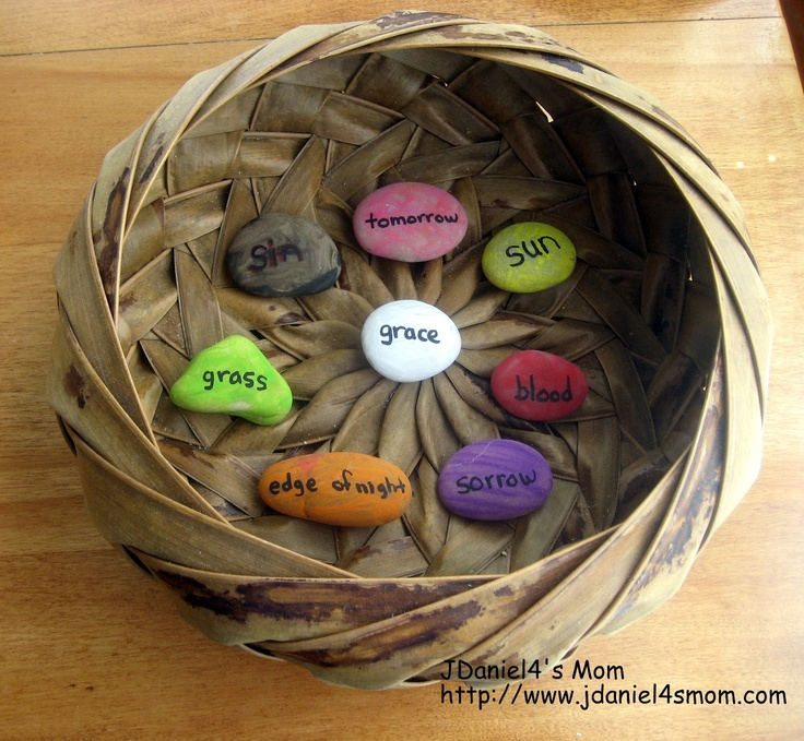 True Meaning of Easter Rocks or The Jelly Bean Prayer in Rocks: Neat idea to do this with painted rocks (or even plastic eggs) so you aren't having to give out jelly beans each day. We could give the class a copy of the poem with jelly beans for Easter before spring break.