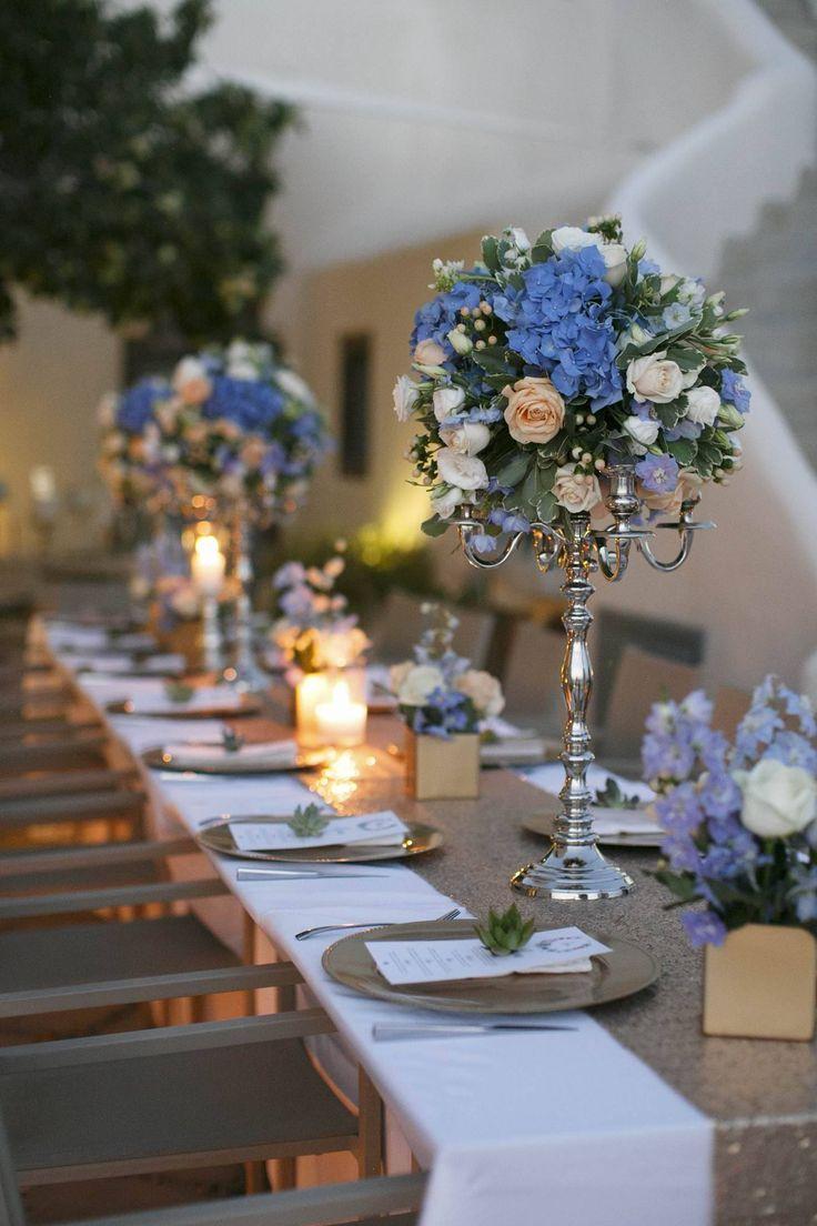 Wedding decor inspirations 2017   light blue, peach and gold details   Destination Wedding in Santorini