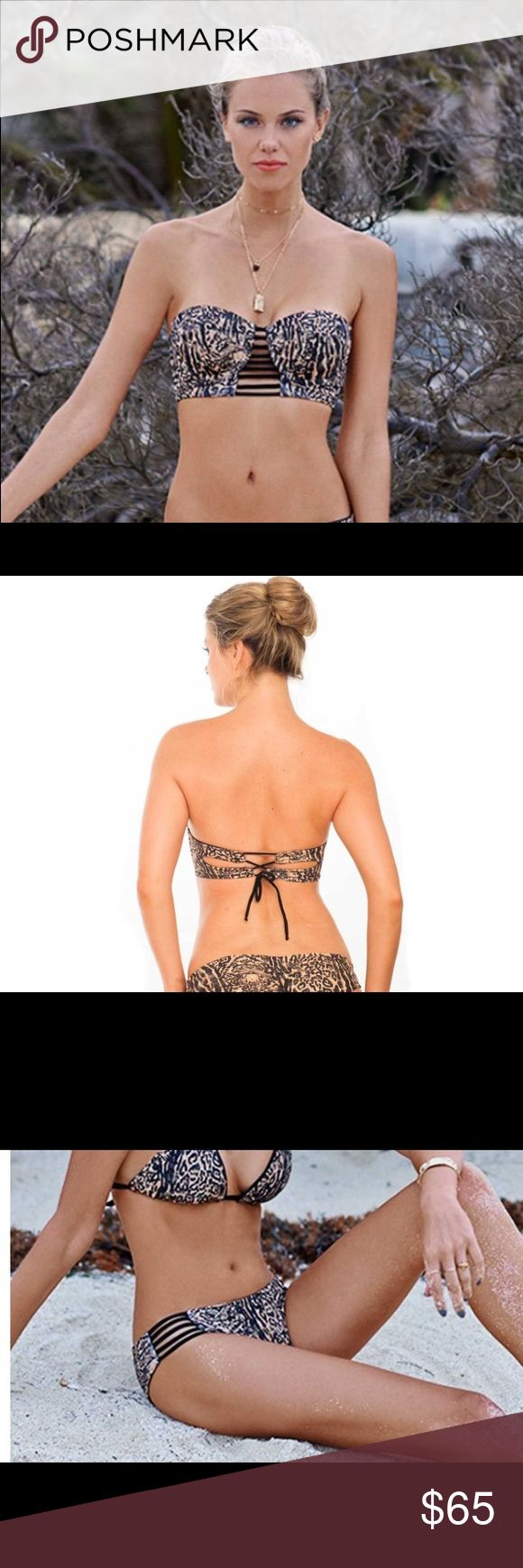 Malai leopard underwire top & strappy bottom Bengal Leopard Underwire Bikini Top & Strappy Reversible Bottom by Malai Swimwear.  Top: Bandeau top with underwire support. Strappy detailing at center bust. Removable straps. Lightly padded (not removable). Ties in the back.  Bottom: Low rise bottom. Strappy sides. Offers moderate backside coverage. Bottom is reversible to a solid black. Made in Colombia. 81% nylon, 19% spandex Malai Swim Swim Bikinis