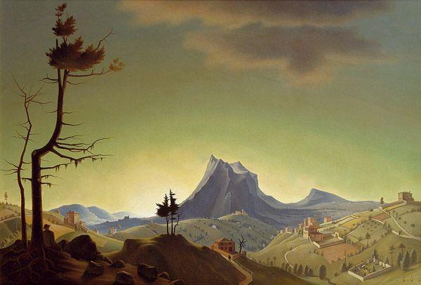 Franz Sedlacek (Austrian Symbolist, New-Objectivity painter, 1891–1945) Evening Landscape, 1933.