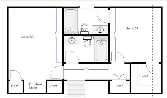 10 best jack and jill bathroom floor plans images on for Jack and jill bathroom with hall access