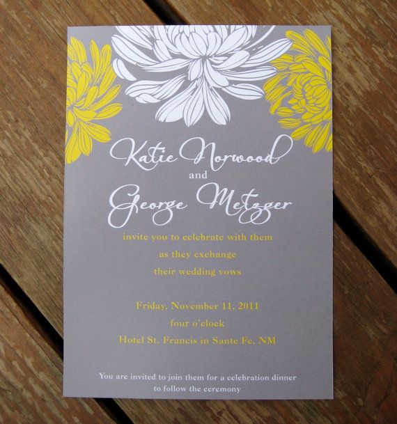 Grey and Yellow Floral Wedding Invite
