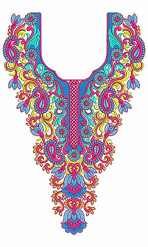 8445 Neck Embroidery Design