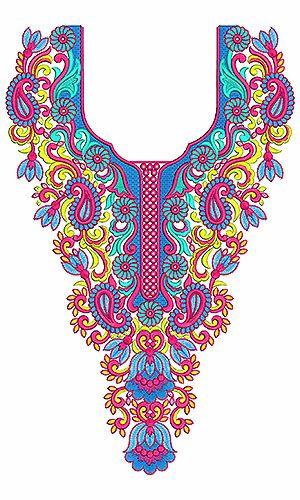 8445 Neck Embroidery Design