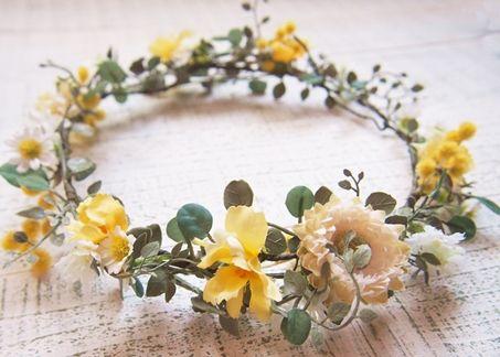 ナチュラルフラワー&ミモザとツタの花冠&リストレット2点SET - 大人可愛い花冠 ブライダル・ウェディング 【アルモニ】