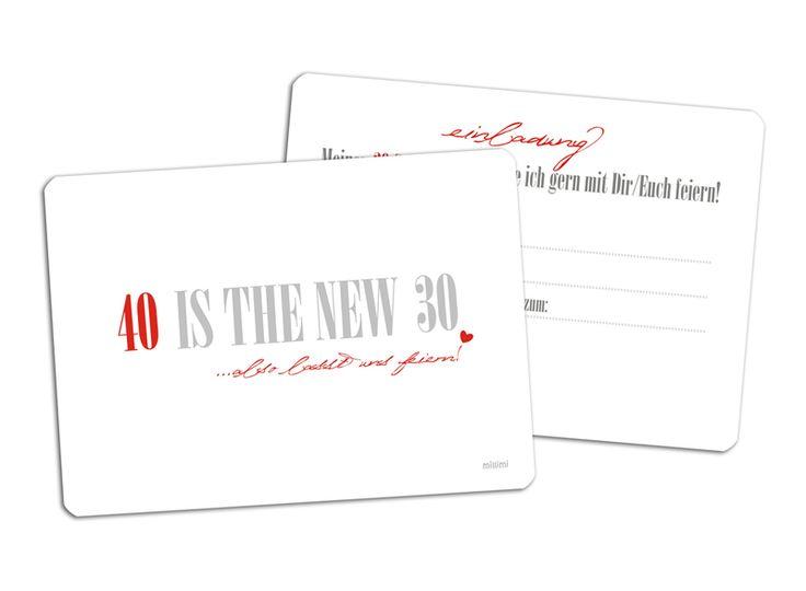 20x ♥ Einladung 40.GEBURTSTAG ♥ 40 is the new 30 von millimi auf DaWanda.com