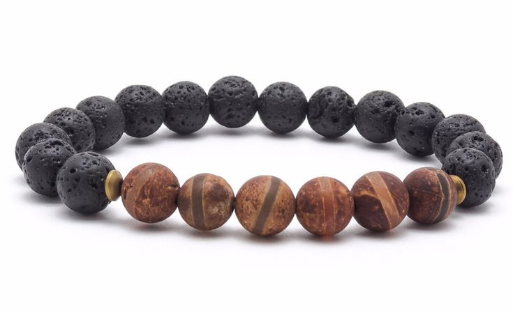 Mens Armbands – Bracelet mala stone agate tibetan volcanic lava – a unique product by Blackif on DaWanda