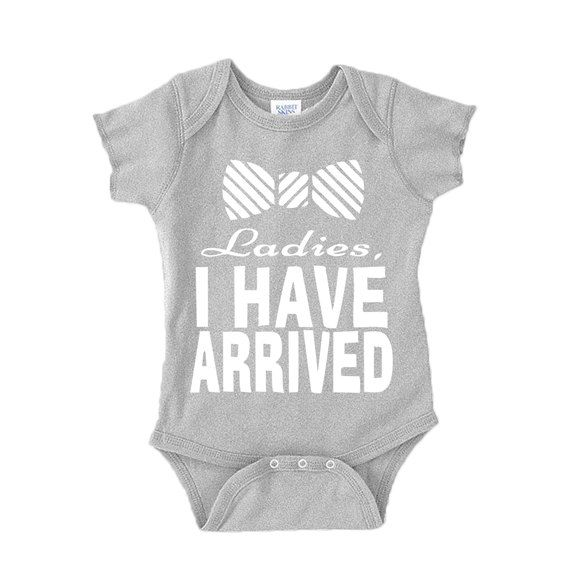 Etsy listing at https://www.etsy.com/listing/222329289/ladies-i-have-arrived-baby-onesie-white