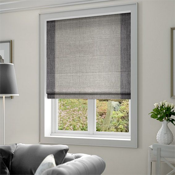 Caldicot Woven Grey Roman Blind from Blinds 2go