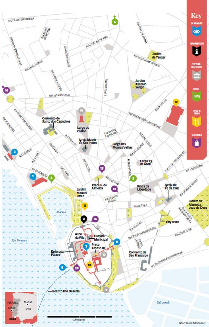 What to do in Faro in 48 hours? faro map