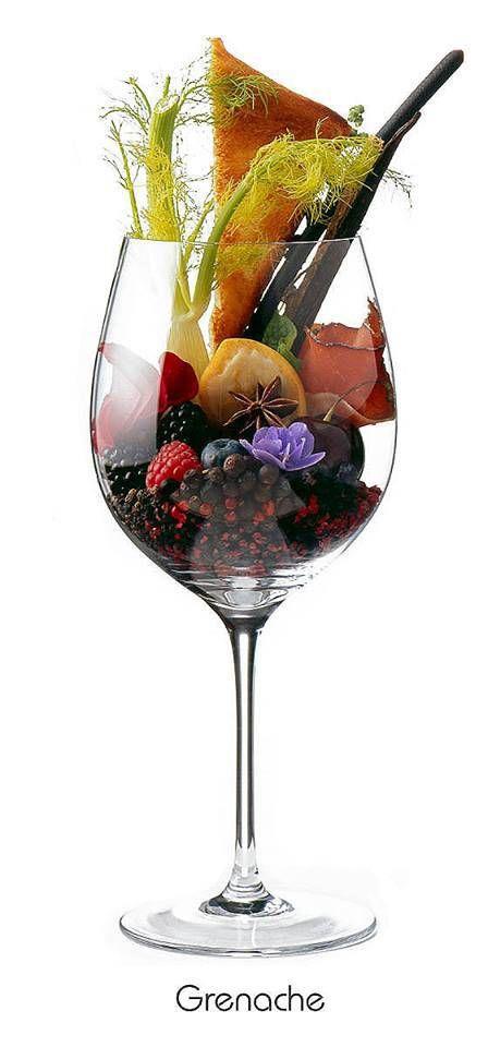 Grenache / Garnacha / Garnatxa / Cannonau aromas: framboesa, morango, ameixa, damasco seco, pimenta do reino fresca, especiarias, azeitona preta, castanha assada, café, couro e amarone