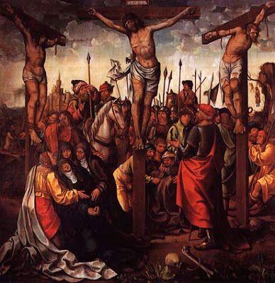 Calvário (c. 1535-40). Vasco Fernandes (Grão Vasco) (activo de 1501 a 1540). Óleo sobre madeira (242,3 x 239,3 x 81 cm). Museu de Grão Vasco, Viseu.