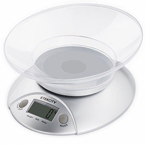 Etekcity 11lb 5kg Digital Multifunction Kitchen Food Bowl Scale Volume Measurement Supported Silver