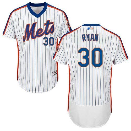 Mets #30 Nolan Ryan White(Blue Strip) Flexbase Authentic Collection Alternate Stitched MLB Jersey