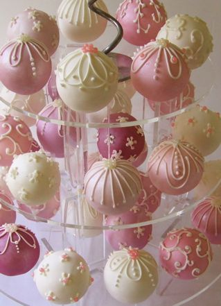 Cake pops (without the sticks?)  Love the idea!  Could be decorated for Christmas, baby/bridal showers, birthdays.  Super cute idea!  Also a great idea to have them on a cupcake-type stand for display.