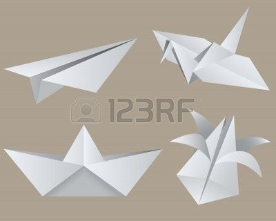 Origami: aircraft, crane, boat, tulip. Isolated.  Stock Vector - 6125957
