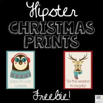 FREEBIE ALERT!  Decorate your classroom with these charming Hipster Animals - all decked out for the holiday season!