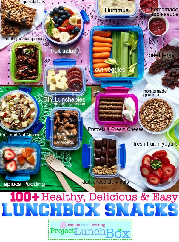 100+ Healthy, Delicious & Easy Lunchbox Snacks on FamilyFreshCookin... © MarlaMeridith #projectlunchbox