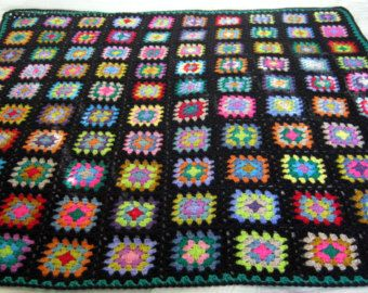 Crochet Granny Square Blanket Cath Kidston colors with black.