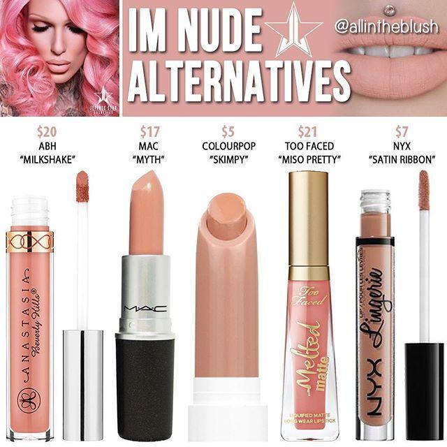 Dupes for Jeffree Star's I'm Nude lipstick @allintheblush