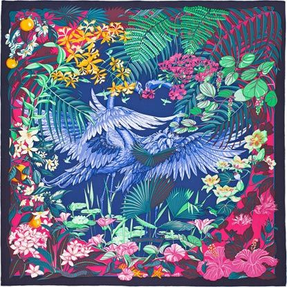 Flamingo Party Hermes silk twill scarf, hand rolled, 36 x 36 Designed by Laurence Bourthoumieux Ref. : H002898S 03