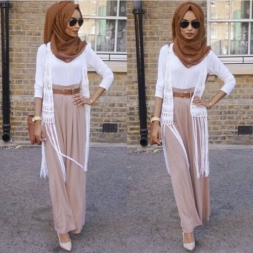 Sophisticated Hijab Look with Palazzo Pants and White Cardigan