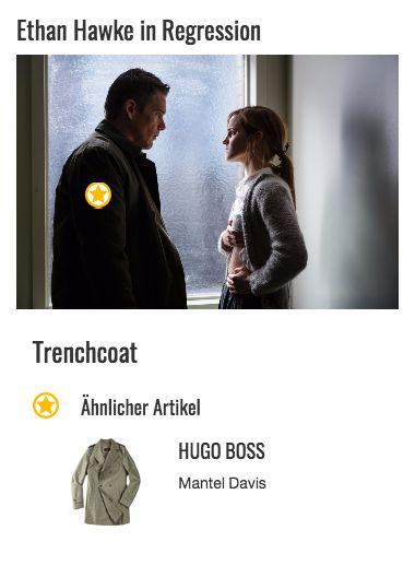 """In seinem olivgrünen Trenchcoat sieht Bruce Kenner (Ethan Hawke) neben der zierlichen Angela Gray alias Emma Watson ziemlich einschüchternd aus. Sein Look ist somit perfekt für seinen Beruf als Polizist geeignet. Frei nach dem Motto """"Kleider machen Leute"""" ist das Outfit besonders in Berufen wichtig, wo Autorität vermittelt werden soll. Und das gelingt Bruce Kenner mit diesem Style auf jeden Fall!"""