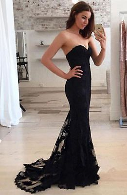 Sexy Black Lace Mermaid Trumpet Formal Party Evening Dresses Bridal Prom Gown