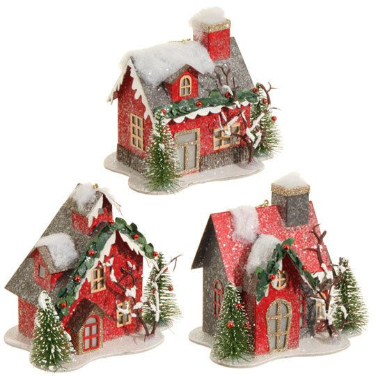 "The Jolly Christmas Shop - Raz 4.5"" Lighted Red Cardboard House Christmas Ornament 3512507, $9.99 (http://www.thejollychristmasshop.com/raz-4-5-lighted-red-cardboard-house-christmas-ornament-3512507/?page_context=category"